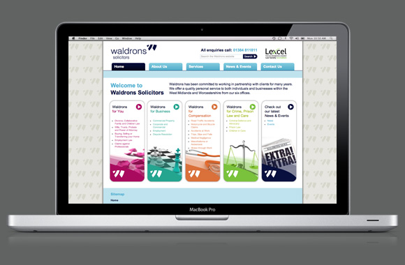 Waldrons Solicitors, website, home page, web design,